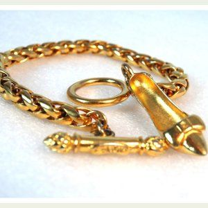 Auth FENDI Gold Zucca Zucchino Shoe Charm Bracelet